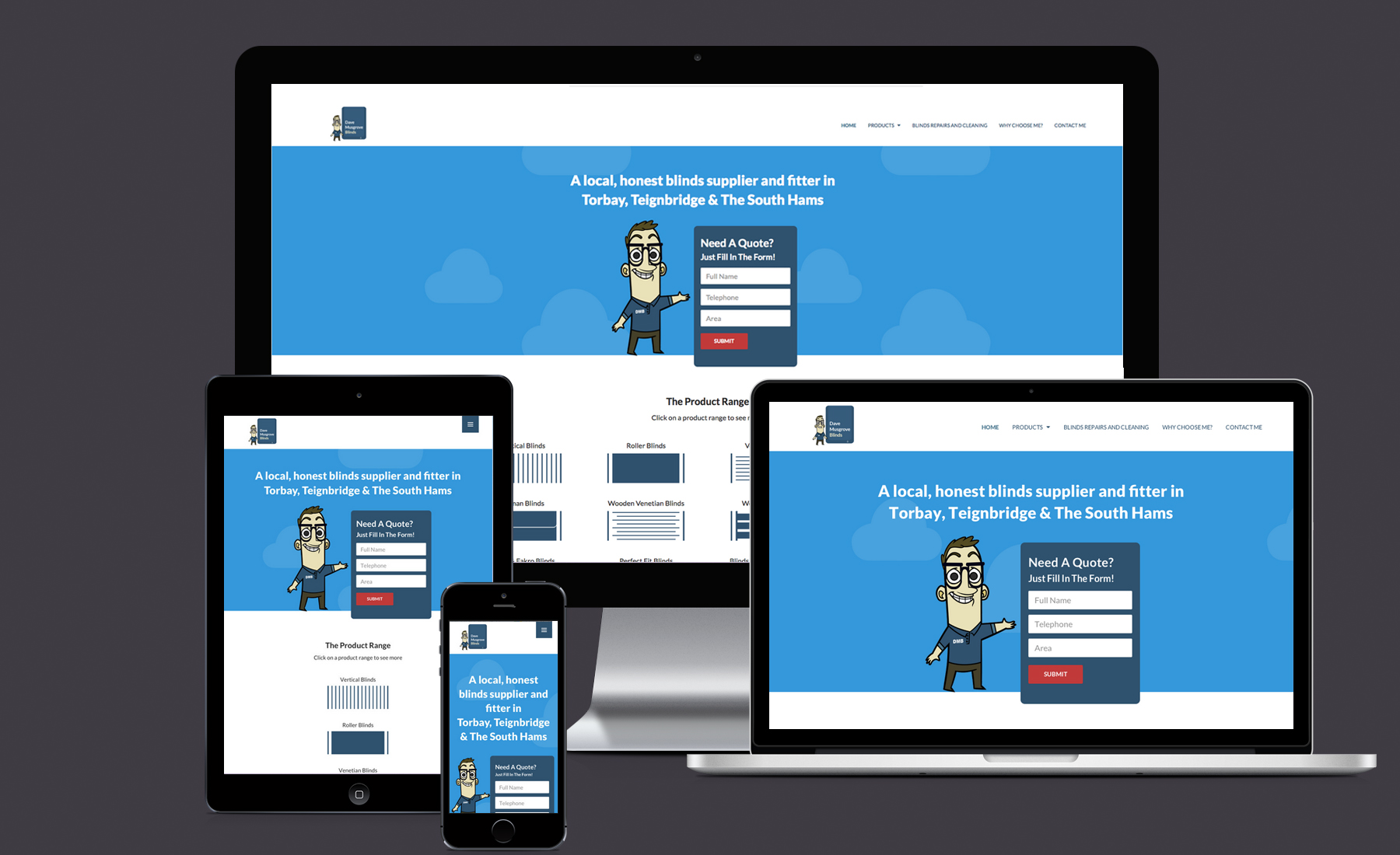Dave Musgrove Blinds responsive website mock up.
