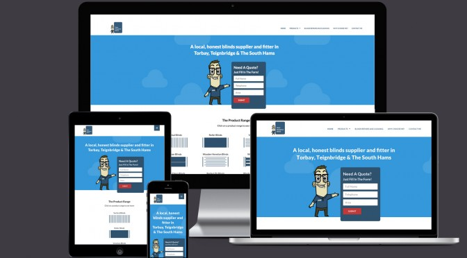 Dave Musgrove Blinds responsive website mock up.